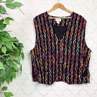 Vintage Black Multicolored Rainbow Chain Print Sweater Vest Plus Size 2X