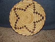 Handmade Basket Brown Star Papago Indian Tucson AZ Tohono O'odham Nation