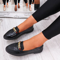 WOMENS LADIES CHAIN LOW FLAT BALLERINAS SLIP ON PUMPS BALLET CASUAL SHOES SIZE