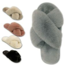 Ladies Fluffy Slippers Womens Faux Fur Open Toe Cross Over Girl Mules Shoes Size