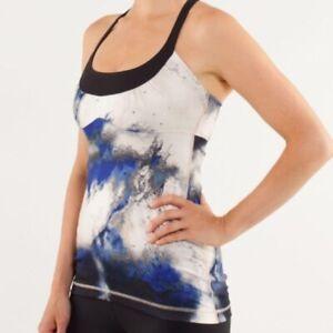 Lululemon Womens Tank Top Sz 10 White Scoop Me Up Print Yoga Active Bra