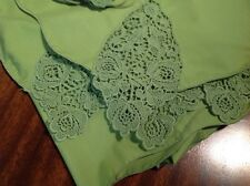 Vintage Olive Green Table Cloth W/12 Napkins-Oblong