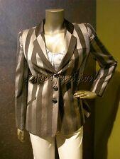 $2525 New GIORGIO ARMANI Gray Silver Stripe Logo Button Blazer Jacket 44 10
