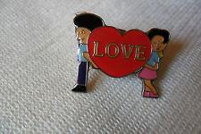 boy girl red heart love in centre pin lapel badge , free u.k. p&p