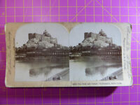 Antique Stereoscope Photograph - Rock & Temple, Trichinopoly, S India Stereoview