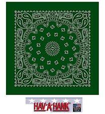 Fabriqué aux USA Hav-A-Hank Vert Chasseur Paisley Bandana Écharpe Scarve Tête