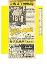 Vintage Original 1950 Fred Arbogast COLOR Ad:  HULA POPPER Killer for Big Bass!