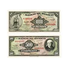 Set of 2 diff. Mexico 1977 500 Pesos xf, 1000 Pesos xf -4 pinholes