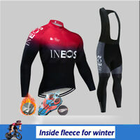 Thermal Cycling Jersey Men Long Sleeve Fleece Bib Pants Set MTB Road Bike Kit