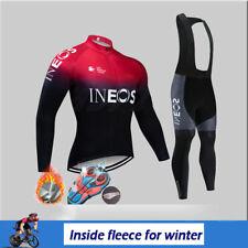 Thermal Cycling Jersey Men Long Sleeve Fleece Bib Pants Set MTB Road Bike Kit