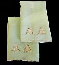 Pair True Vtg*Mint Green Hand Crocheted Design Bath Guest Hand Towels*Exc Con*
