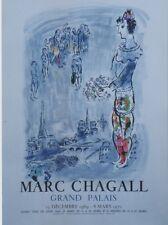 """""""CHAGALL (LE MAGICIEN DE PARIS)"""" Affiche originale entoilée Litho MOURLOT 1970"""