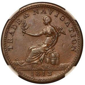 1813 Canada Nova Scotia Trade Navigation 1/2 Half Penny Token NS-19B2 NGC AU 55