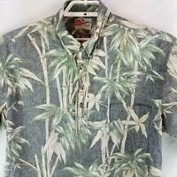 HIlo Hattie Reverse Print Hawaiian Camp Friday Bamboo Themed 1/2 Button Shirt XL