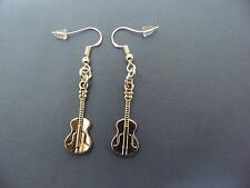 NEW TIBETAN SILVER GUITAR EARRINGS, STERLING SILVER FRENCH WIRE HOOKS