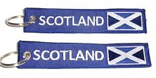 Embroidered Fabric SCOTLAND St. Andrews Flag Double Sided Keyring / Keychain x 2