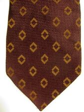GORGEOUS $165 Ermenigildo Zegna Reddish Brown With Gold Diamonds Silk Tie Italy