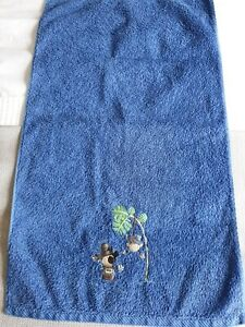 Rare Embroidered Blue Hand Towel - Pirate & Monkey Design M&S