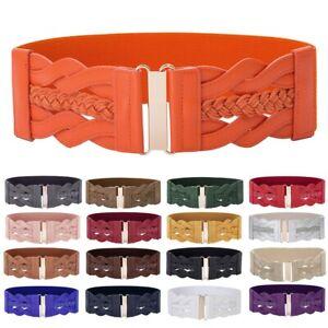 Women Fashion Waist Belt Wide Braided Stretch Dress Belt Faux Leather Waistband