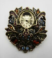 Multi Colored Stones/Gold Setting Heidi Daus Watch Brooch Quartz-Works-