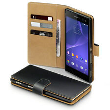 Sony Xperia  Premium Leather Case Card Holder Wallet Executive Black