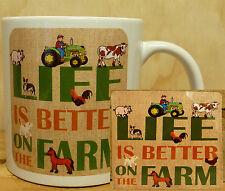 COFFEE MUG & MATCHING COASTER SET - LIFE IS BETTER ON THE FARM FARM