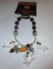 "Ghosts Artglass Beaded Bracelet Stretchy Halloween Black White New 8"""
