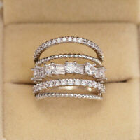 Luxury Women's 925 Silver Wedding Rings Jewelry White Sapphire Ring Size 6-10