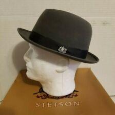 Vintage Stetson Fedora Hat Size 7 w/ Box Gray Black Band Selv-edge 3X Beaver