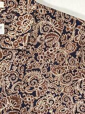 Men's Yves Saint Laurent SS Brown/Blue Floral Print 3 Button Pullover Shirt Sz M