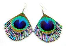 "Handmade 2.4"" Iridescent Peacock Feather Beads Dangle earrings ;FA014"