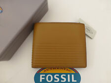 Fossil Coin Wallet Tyler INT Brown Billfold Leather Wallets in Gift Tin
