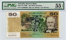 AUTRALIAN RESERVE BANK 1973 $50 NOTE FIRST PREFIX GRADED BY PMG 55  YAA 982365