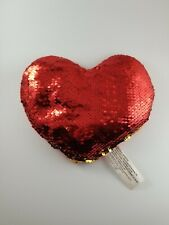 Sequin Valentine's Day Heart Shaped Plush Gold & Red Love Girlfriend Wife 7 x 8