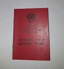 Original document for USSR Russian Veteran Of Labour Medal