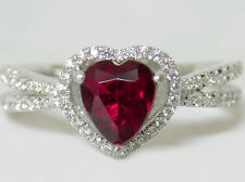 lab red ruby heart white CZ 925 sterling silver ring size 8 USA made