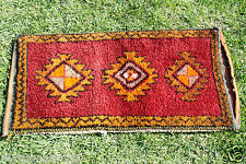 Vegy Dyes 1'8''x3&#0 39;5'' Antique Multi-Colored Tribal Wool Pile Cushion Rug-Turkey