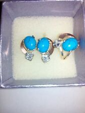 Earrings, ring sterling silver 925 with turquoise and zirconia sets