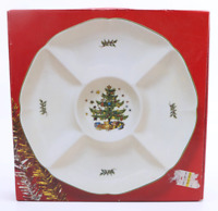 "Nikko Christmastime 13"" Hors d'oeuvres Round Serving Tray Plate 5 Sections NEW"