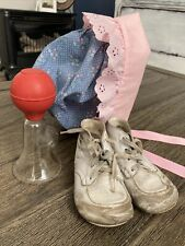 Vtg Leather Baby Shoes Boots Booties, Breast Pump & Handmade Baby Bonnet 6-105