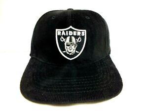 9O's VINTAGE LOS ANGELES RAIDERS HAT FLEX FIT HAT CORDUROY NFL CAP BLACK NEW