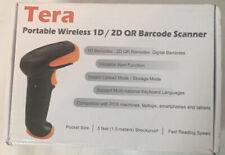Tera Portable Wireless 1D/2D QR Barcode Scanner, Pocket Size - Black NEW