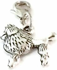 LOVELY SILVER  POODLE DOG CLIP ON CHARM FOR BRACELET -TIBET SILVER-FREE P&P