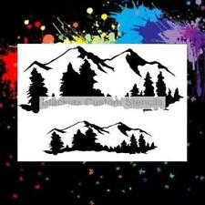 Rocky Mountains And Trees Airbrush Stencil,Template