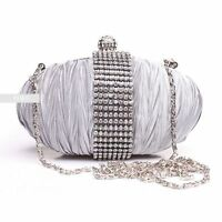 Stylish Silver Diamante Wedding Ladies Party Evening Clutch Hand Bag Purse