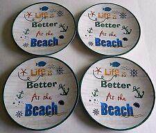 "Coastal Melamine Plates LIFE IS BETTER AT THE BEACH   9"" Diameter"