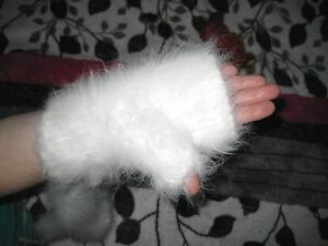 MITTENS fingerless  ANGORA RABBIT BUNNY yarn handknit SUPER SOFT Russian craft