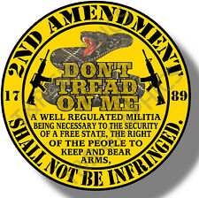 2nd Amendment Gun Sticker Decal, Don't Tread on Me Gun Rights Truck windows NRA