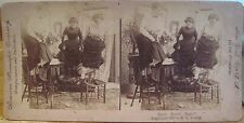 Vtg Stereoview RATS ! RATS!! RATS!!! Women on Chairs American Stereoscopic Young