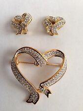 Swarovski Heart Ribbon Style Pin Brooch & Earring Set Signed - LOVELY! - New